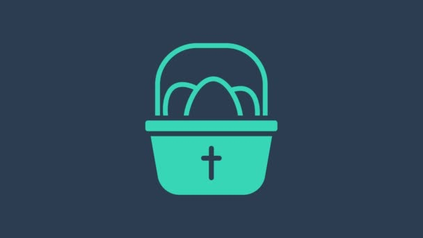 Turquoise Basket with easter eggs icon isolated on blue background. Happy Easter. 4K Video motion graphic animation