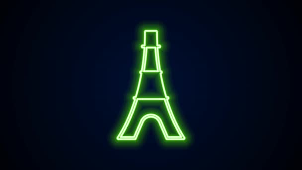 Glowing neon line Eiffel tower icon isolated on black background. France Paris landmark symbol. 4K Video motion graphic animation