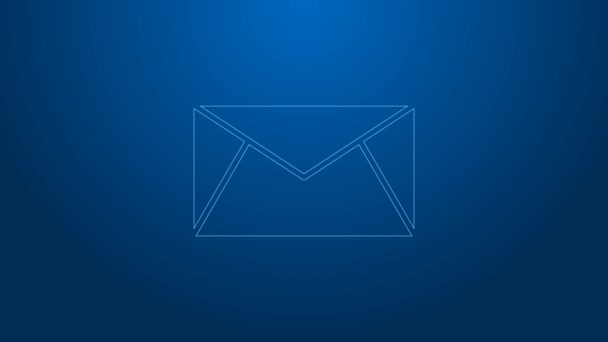 White line Mail and e-mail icon isolated on blue background. Envelope symbol e-mail. Email message sign. 4K Video motion graphic animation