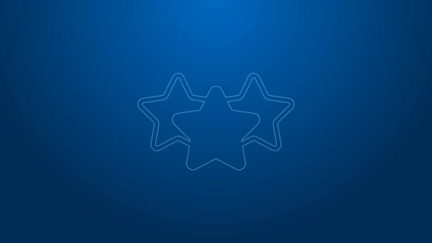 White line Five stars customer product rating review icon isolated on blue background. Favorite, best rating, award symbol. 4K Video motion graphic animation