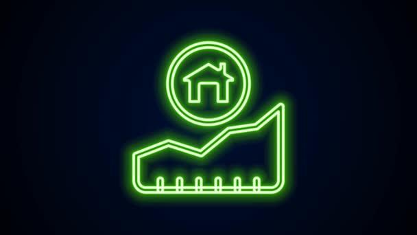 Žhnoucí neonová čára Rostoucí náklady na ikonu bydlení izolované na černém pozadí. Rostoucí cena nemovitostí. Rezidenční graf se zvyšuje. Grafická animace pohybu videa 4K