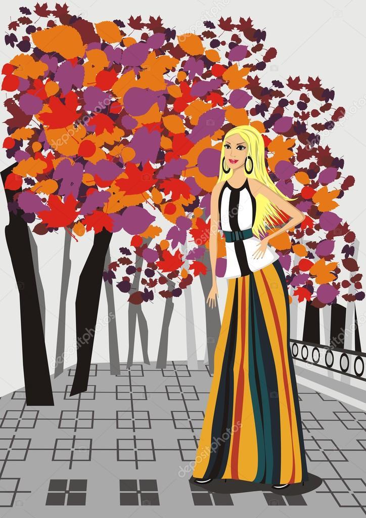 Sonbahar Moda Bir Kız Sonbahar Park Vektör çizimi Stok Vektör