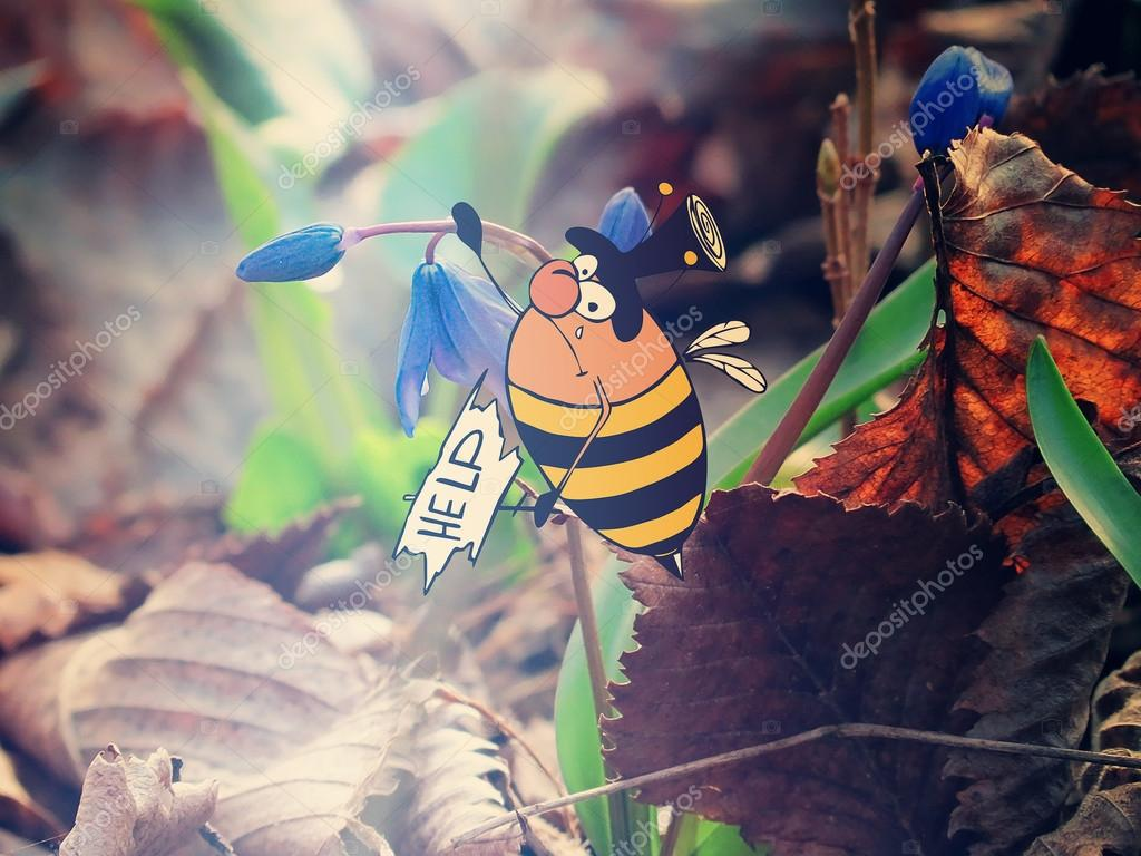 Combination of drawing and photography - fat bumblebee to fly seriously help
