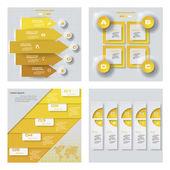 Kolekce 4 žluté barvy šablony. Vektorové pozadí. Pro vaši představu a prezentaci