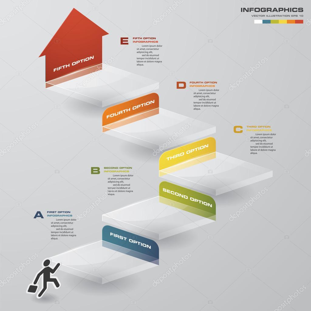 abbildung abstrakt Business-Diagramm. 5 Schritte Diagramm Vorlage ...