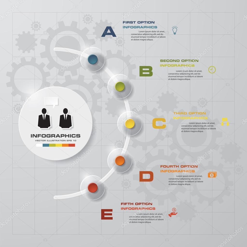 Zusammenfassung 5 Stufen Business Präsentationsvorlage — Stockvektor ...
