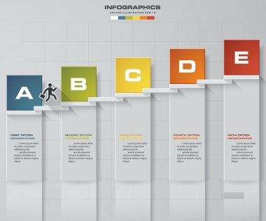 abstract business chart. 5 Steps diagram template Vector. Step by step idea.
