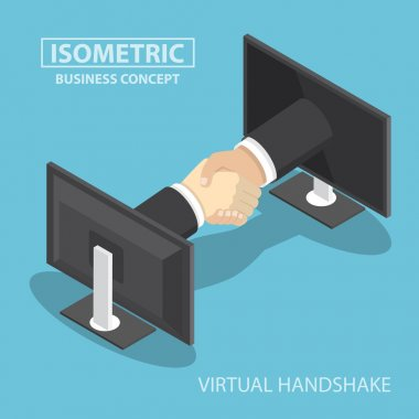 Isometric businessman hands reaching out from monitor screen to