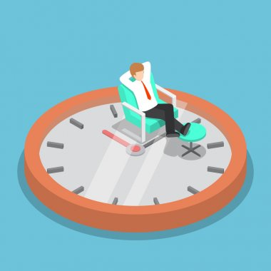 Isometric businessman relaxing on the sofa with clock