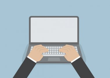 Businessman hand on laptop keyboard with blank screen monitor