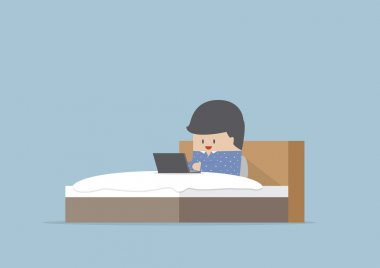Man working on his laptop in the bed, VECTOR, EPS10 stock vector
