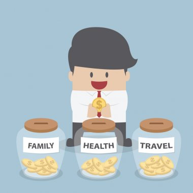 Businessman putting coin into Family, Health, Travel bottle, Fin