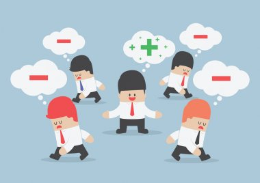 Think positive businessman surrounded by negative thinking peopl