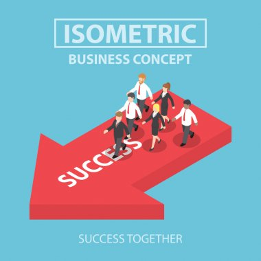 Isometric business leader bring his team to success