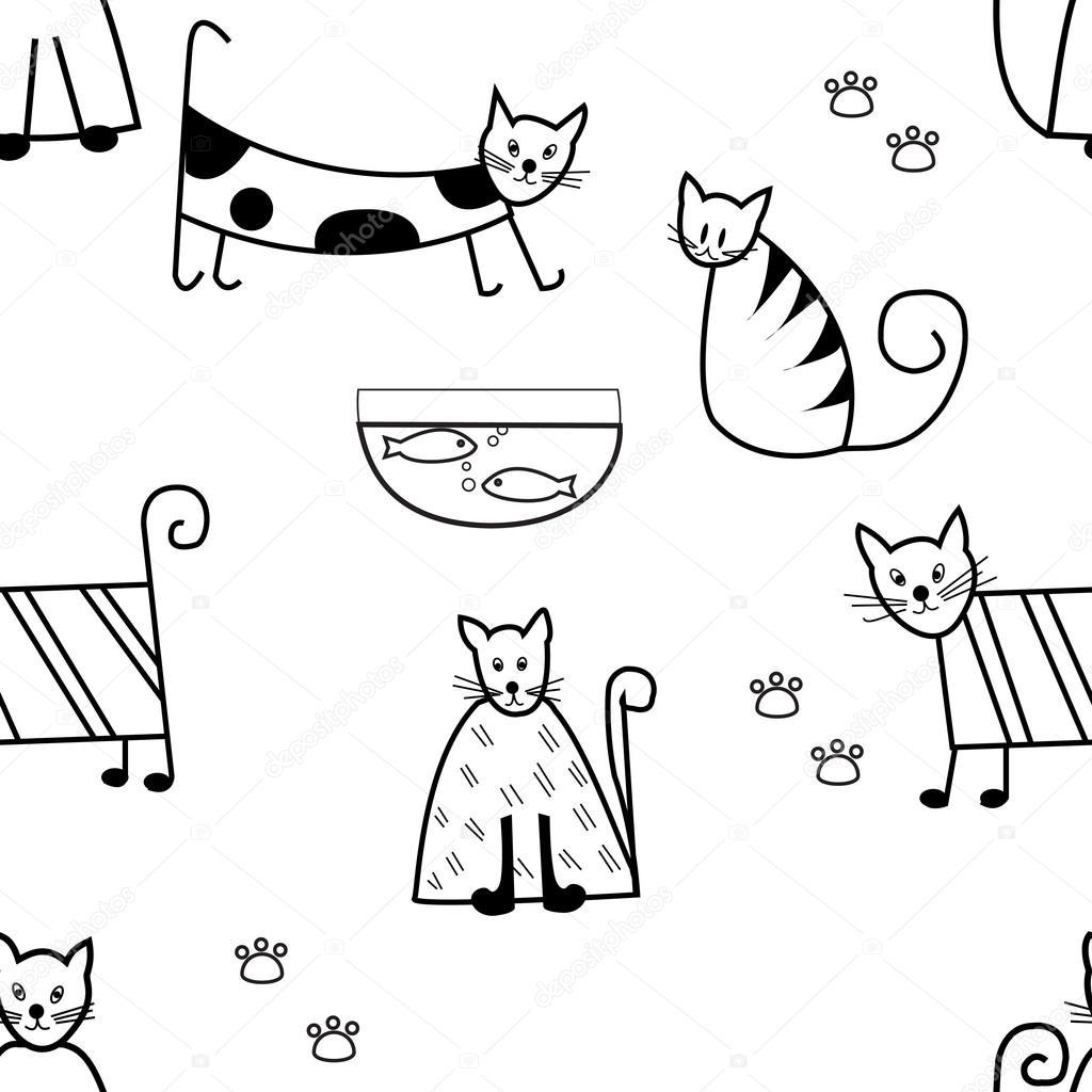 Imágenes Gatos Para Dibujar A Lapiz Faciles Patrón Sin Fisuras De