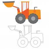 Auto, stavební stroje, vektorové ilustrace ploché ikony
