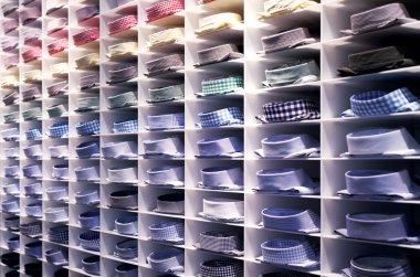 Folded colourful shirts