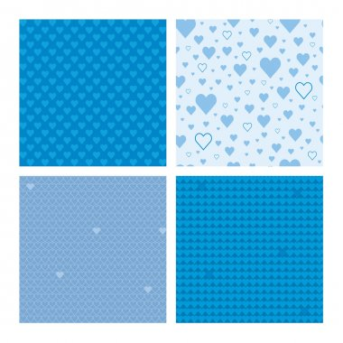 Set of 4 beautiful seamless patterns with hearts (tiling) for web page backgrounds, textile designs, fills, banners clip art vector