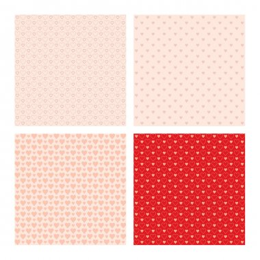 Set of 4 beautiful seamless patterns with hearts
