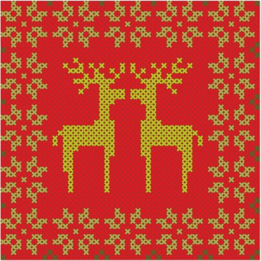 Christmas and winter seamless background with reindeer