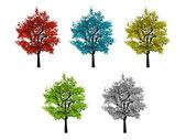 Öt leveles színes fák