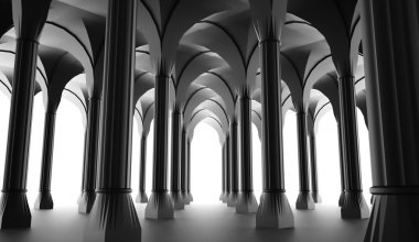 Black historic colonnade from columns