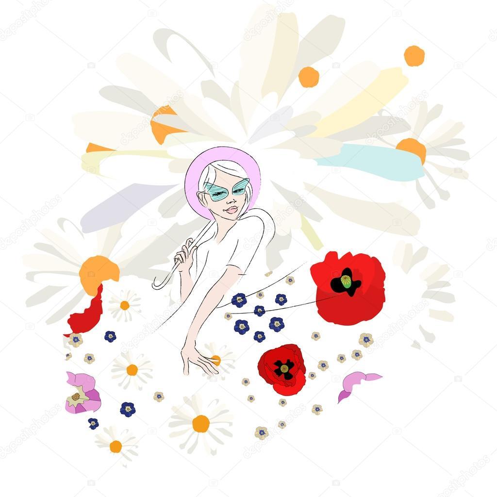 new style 54184 00d82 Abbozzo astratto della ragazza teenager in un vestito bianco ...