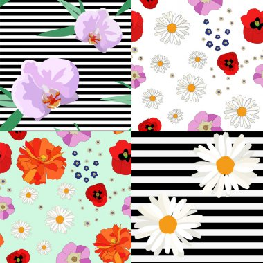 Floral background, wild and tropical flowers, striped background, seamless pattern, fashion