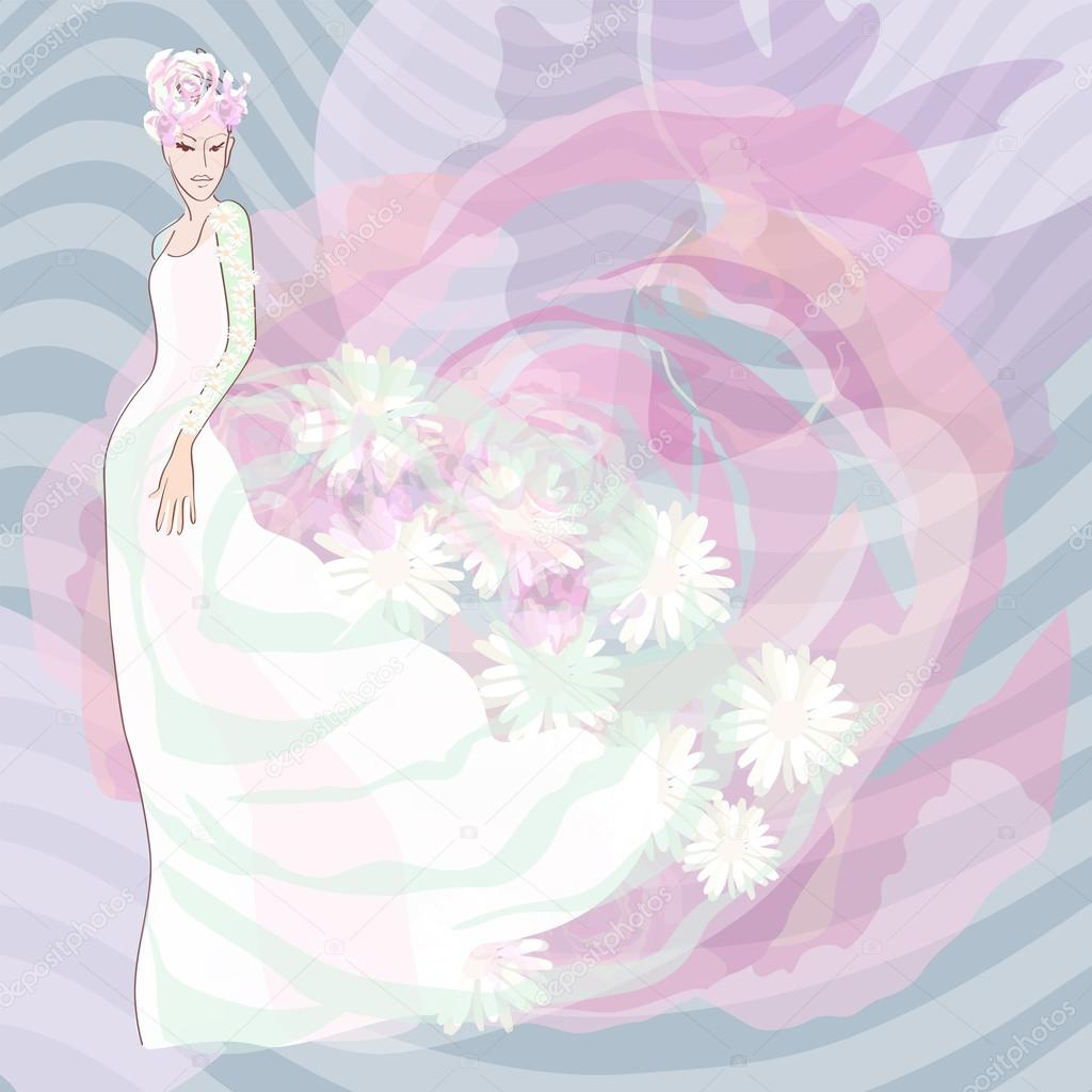Abstract Sketch Of A Bride In Her Wedding Dress White Flower Blue