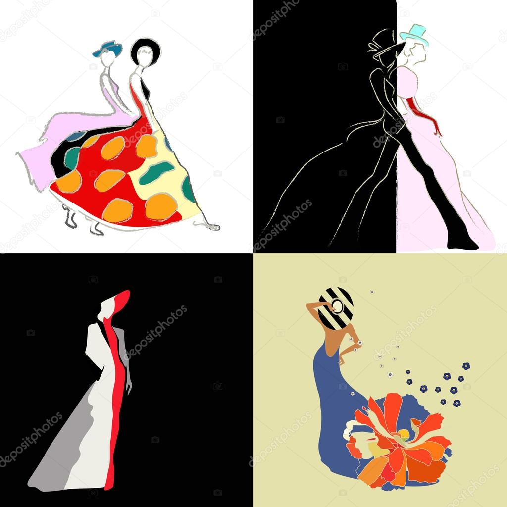 Abstract Sketch Of Girls And Women Models In Dresses Suits Hats