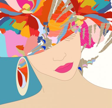 woman in a hat on a floral background, fashion,  jewelry