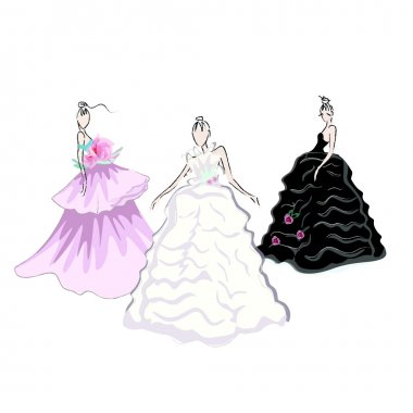 Abstract sketch of models in gorgeous dress