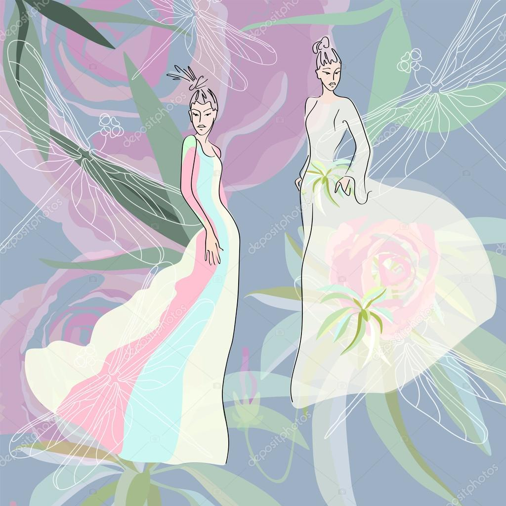 676f1ec8c838 Abstract sketch of women in dresses (yellow, blue, pink) decorated with  flowers, clothing collection spring-summer, fashion, floral print — Vector  by ...