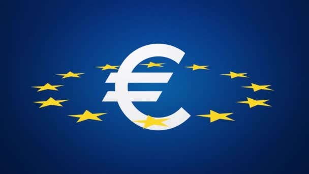 Euro currency symbol with stars loop