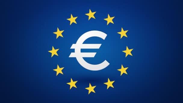 symbol měny euro s rotujícím žluté hvězdy nekonečné smyčky