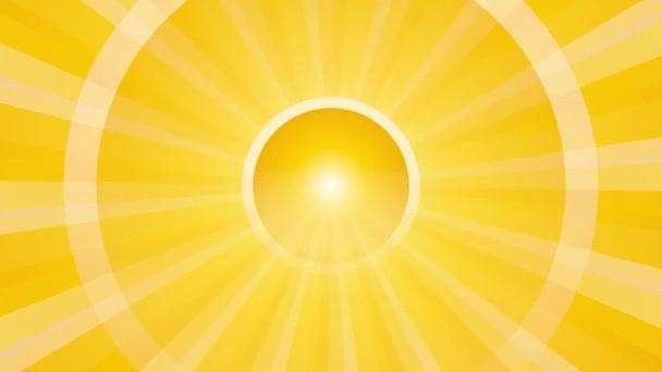 absztrakt háttér sárga sugarak és lüktető kör végtelen hurok