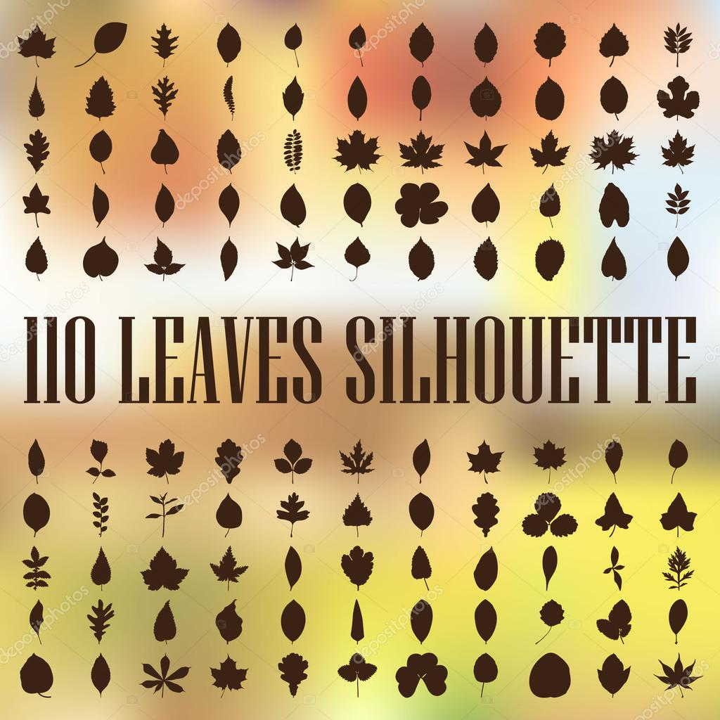 110 leaves silhouette vector collection