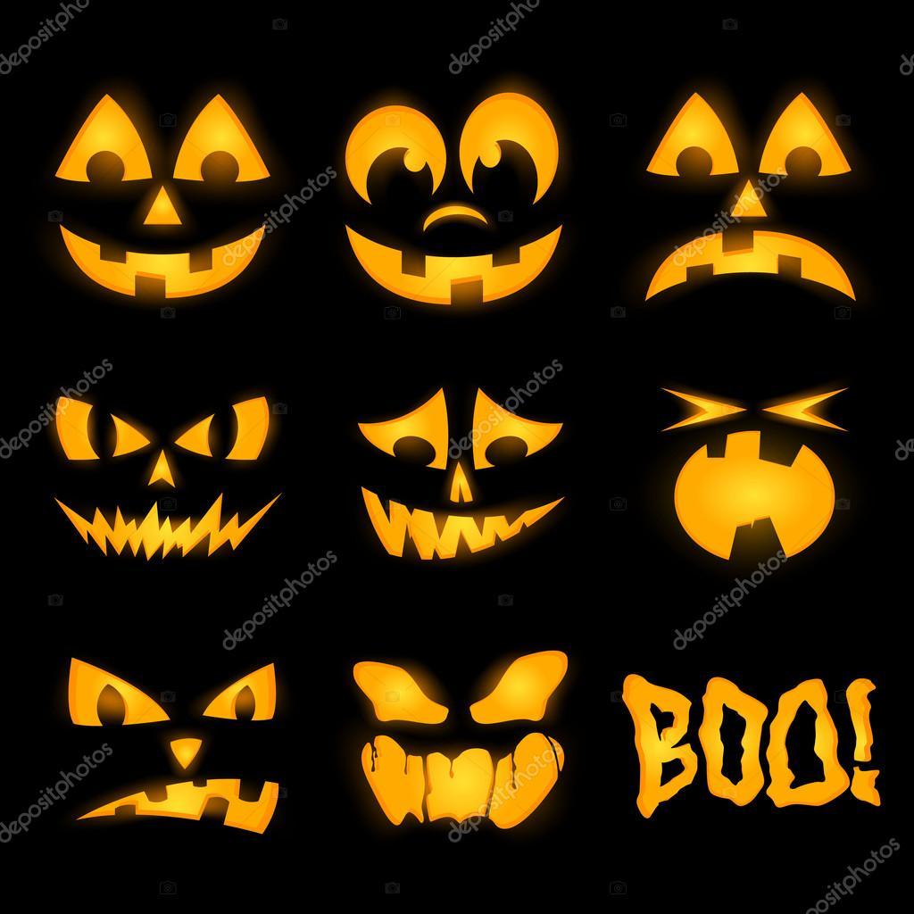 orange halloween k rbis gesichter emotionen beleuchtung stockvektor 54955203. Black Bedroom Furniture Sets. Home Design Ideas