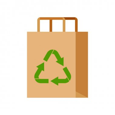 Eco packaging with recycling sign isolated on white background. Empty eco friendly paper shopping bag for goods. Flat design cartoon style natural no plastic package icon clipart vector illustration. icon