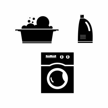 Amazing logo same tools to wash clothes icon