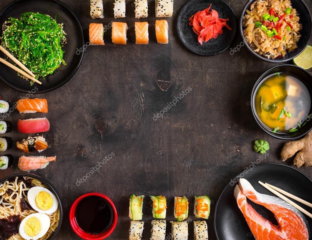 Fondo De Comida Mexicana: Sushi E Comida Japonesa Em Fundo Escuro