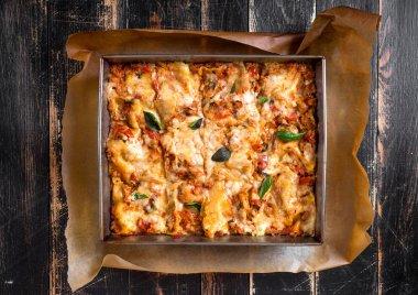 Top view of a traditional italian lasagna