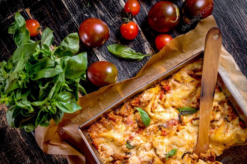 Close-up of a traditional italian lasagna