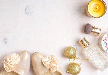 Holiday feminine cosmetic background