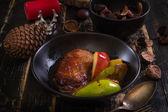 Fotografie Gebratene Entenbrust mit goldenen knusprige Haut