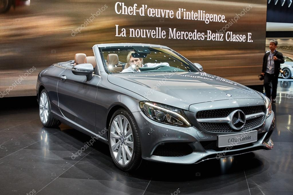 Geneva, Switzerland - March 1, 2016: 2016 Mercedes-Benz C-Class Cabriolet presented on the 86th Geneva Motor Show in the PalExpo