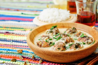 Moroccan lemon cardamom meatballs with rice