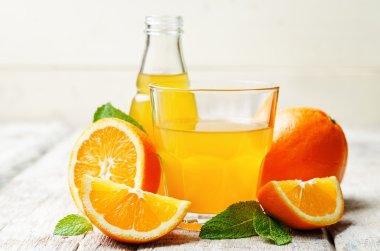 orange juice on a white wood background