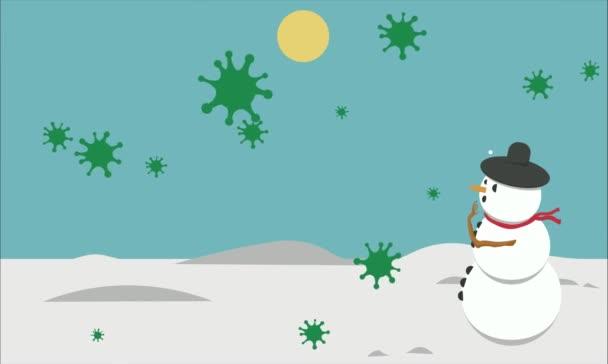 videó egy kis animáció kapcsolódik a covid 19 vírus és egy hóember, ahol csodálkozik, ha azok hópelyhek, de ez a vírus esik, mint a hó