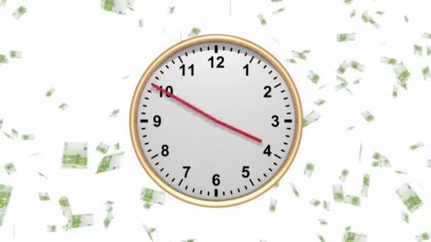 Čas je smyčka peníze - hodiny s klesající euro - Hd